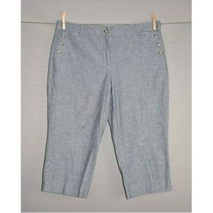 TALBOTS Blue Chambray Capri Sailor Pant